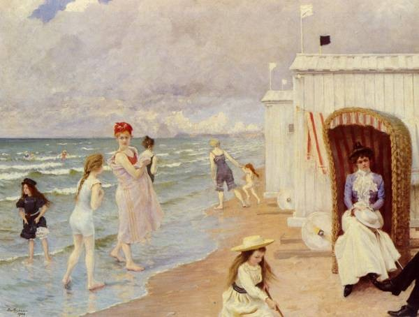 Danish 1860 to 1934 A Day At The Beach SnD 1900 O C 559 by 718cm